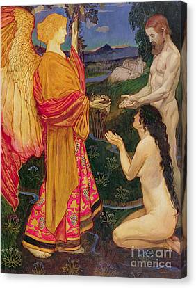 Male Angel Canvas Print featuring the painting The Angel Offering The Fruits Of The Garden Of Eden To Adam And Eve by JBL Shaw