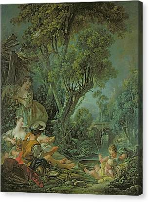 The Angler Canvas Print by Francois Boucher