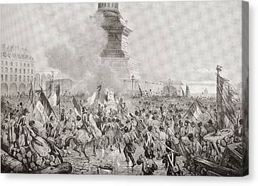 The Angry Paris Mob Burning The Royal Canvas Print by Vintage Design Pics