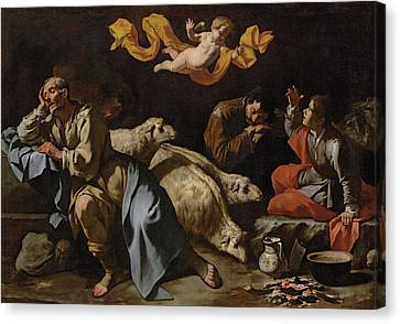 The Annunciation To The Shepherds Canvas Print by Master of the Annunciation to the Shepherds