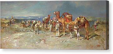 The Arab Caravan   Canvas Print by Italian School