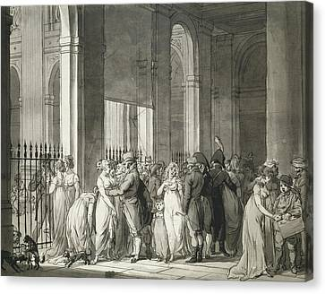 The Arcades At The Palais Royal Canvas Print by Louis Leopold Boilly