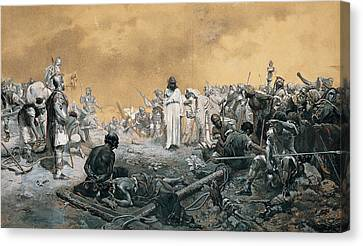 The Arrival At Calvary Canvas Print by Jose Echenagusia
