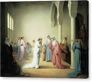 The Arrival Into The Harem At Constantinople Canvas Print by Henriette Browne