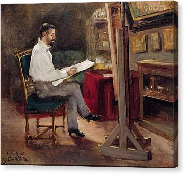 The Artist Morot In His Studio Canvas Print by Gustave Caillebotte