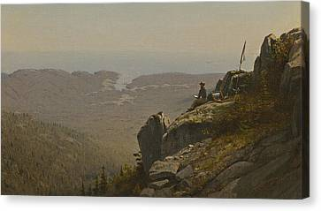 The Artist Sketching At Mount Desert Canvas Print by Sanford Robinson Gifford
