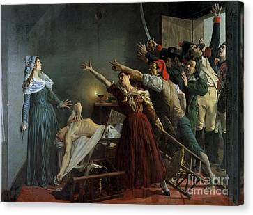 The Assassination Of Marat Canvas Print by Jean Joseph Weerts