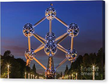The Atomium In Brussels During Blue Hour Canvas Print by Henk Meijer Photography