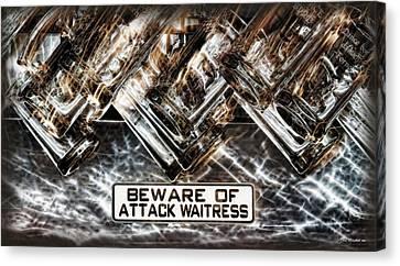 The Attack Waitress  Canvas Print by Joan  Minchak