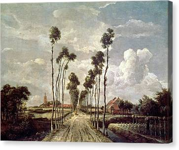 The Avenue At Middelharnis Canvas Print by Meindert Hobbema