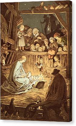 The Babe Lying In A Manger  Canvas Print by Victor Paul Mohn