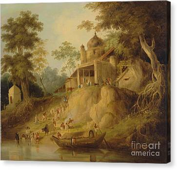 The Banks Of The Ganges Canvas Print by Celestial Images