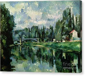 The Banks Of The Marne At Creteil Canvas Print by Paul Cezanne