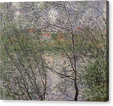The Banks Of The Seine Canvas Print by Claude Monet