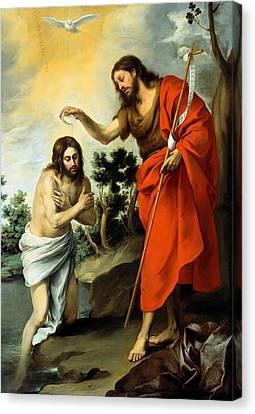 The Baptism Of Christ Canvas Print by Bartolome Esteban Murillo