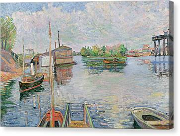 The Bateau Lavoir At Asnieres Canvas Print by Paul Signac