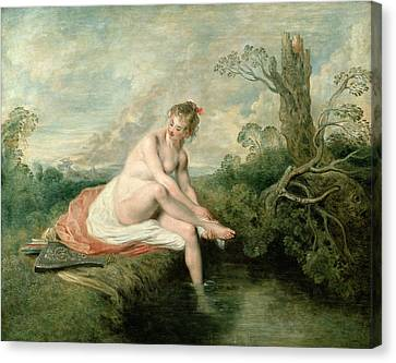 The Bath Of Diana Canvas Print by Jean Antoine Watteau