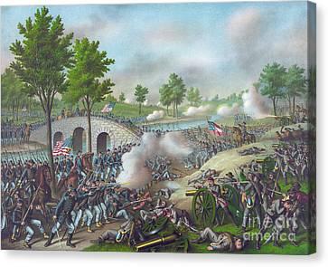 The Battle Of Antietam Canvas Print by American School