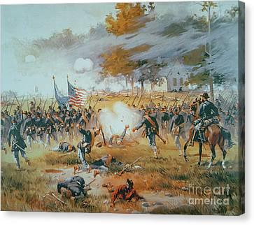 The Battle Of Antietam Canvas Print by Thure de Thulstrup