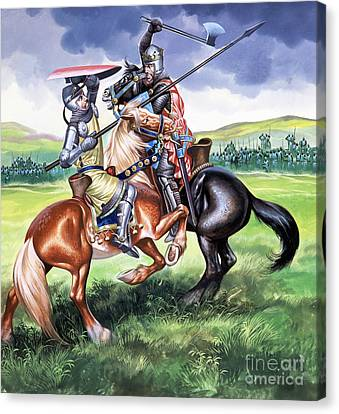 The Battle Of Bannockburn Canvas Print by Ron Embleton