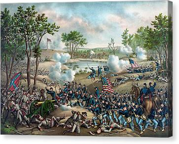The Battle Of Cold Harbor Canvas Print by War Is Hell Store