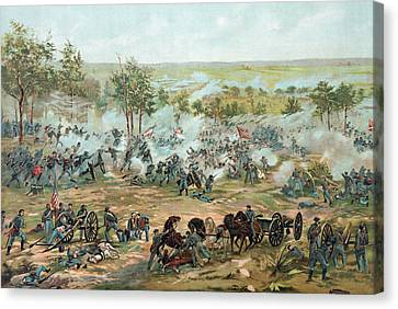 The Battle Of Gettysburg Canvas Print by Paul Dominique Philippoteaux