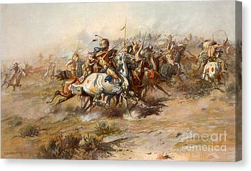 The Battle Of Little Bighorn Canvas Print by Charles Marion Russell