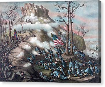 The Battle Of Lookout Mountain Canvas Print by American School