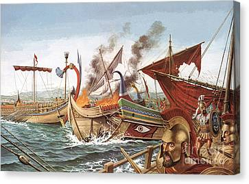 The Battle Of Salamis Canvas Print by English School