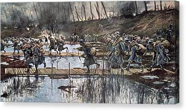The Battle Of The Yser In 1914 Canvas Print by Francois Flameng