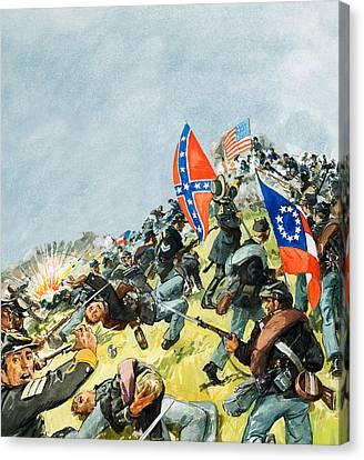 The Battlefield At Gettysburg Canvas Print by Leo Davy