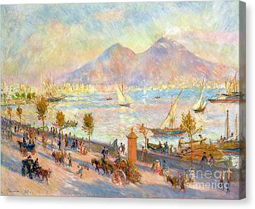 The Bay Of Naples With Vesuvius In The Background Canvas Print by Pierre Auguste Renoir