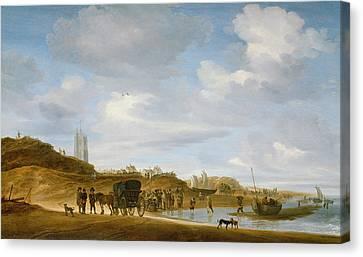The Beach At Egmond An Zee Canvas Print by Salomon van Ruysdael