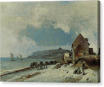 The Beach At Sainte Adresse Canvas Print by Johan-Barthold Jongkind