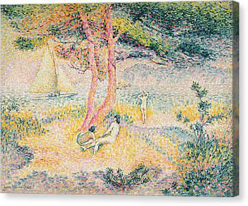 The Beach At St Clair Canvas Print by Henri-Edmond Cross