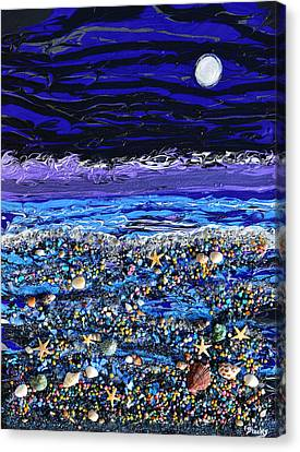 The Beach By Moonlight Canvas Print by Donna Blackhall