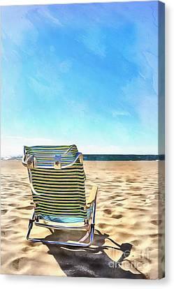The Beach Chair Canvas Print by Edward Fielding