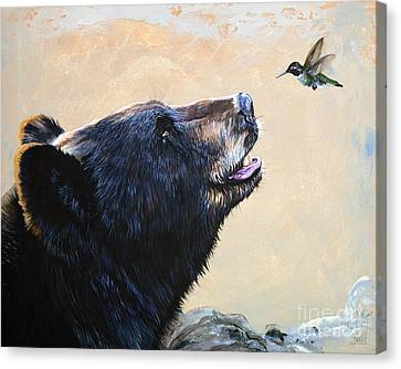 The Bear And The Hummingbird Canvas Print by J W Baker
