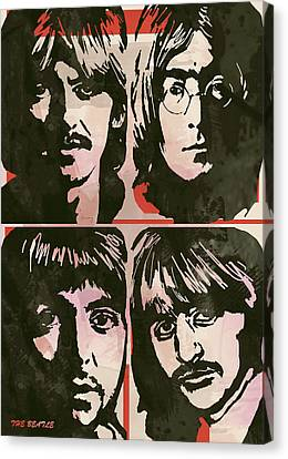 The Beatles Pop Stylised Art Sketch Poster Canvas Print by Kim Wang