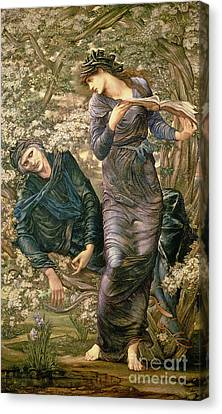 The Beguiling Of Merlin Canvas Print by Sir Edward Burne-Jones