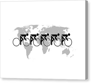 The Bicycle Race 3 Black On White Canvas Print by Brian Carson
