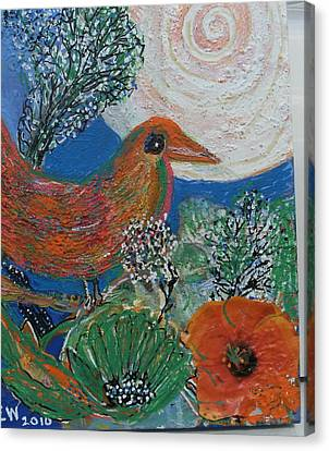 The Bird Is The Word Canvas Print by Anne-Elizabeth Whiteway