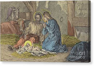 The Birth Of Jesus Christ  Canvas Print by French School