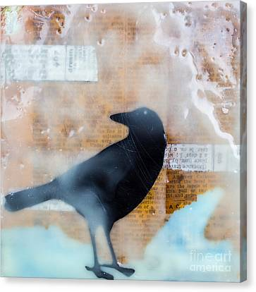 The Black Crow Knows Mixed Media Encaustic Canvas Print by Edward Fielding