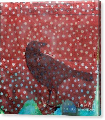 The Black Crow Knows Snowfall Encaustic Mixed Media Canvas Print by Edward Fielding