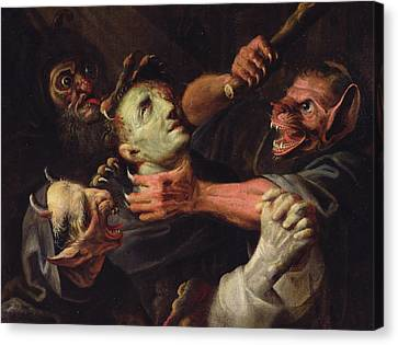 The Blessed Guillaume De Toulouse Tormented By Demons Canvas Print by Ambroise Fredeau