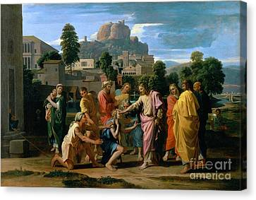 The Blind Of Jericho Canvas Print by Nicolas Poussin