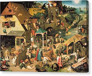 The Blue Cloak Canvas Print by Pieter the Elder Bruegel