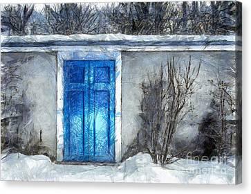 The Blue Door Beckons Pencil Canvas Print by Edward Fielding