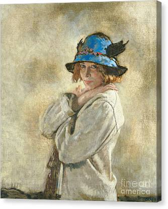 The Blue Hat Canvas Print by Sir William Orpen